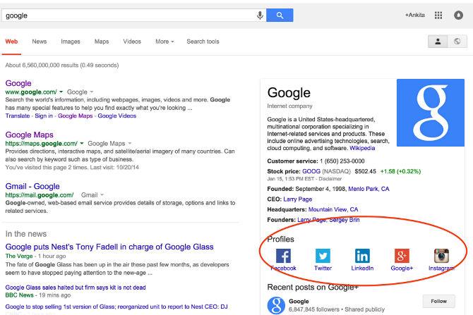 Google affiche les réseaux sociaux des marques dans ses résultats.
