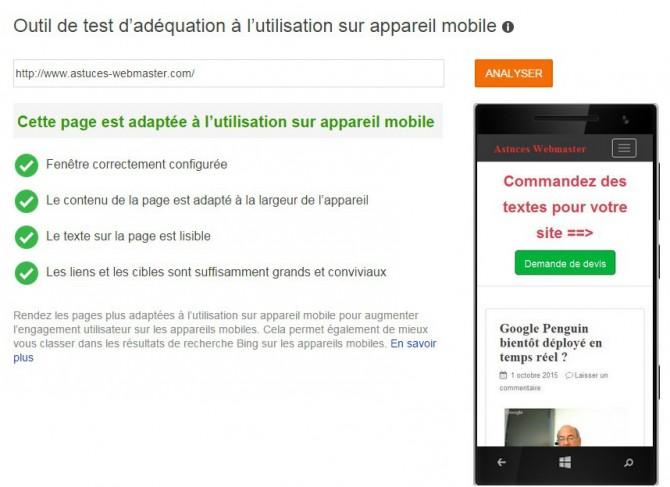 Bing : outil de test de compatibilité avec les mobiles